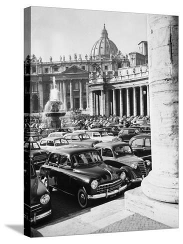 Cars Parking for Vatican Visit--Stretched Canvas Print