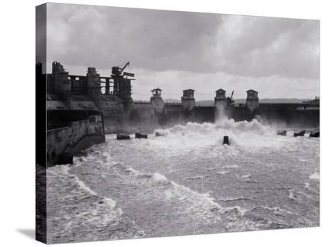 Construction of the Panama Canal--Stretched Canvas Print