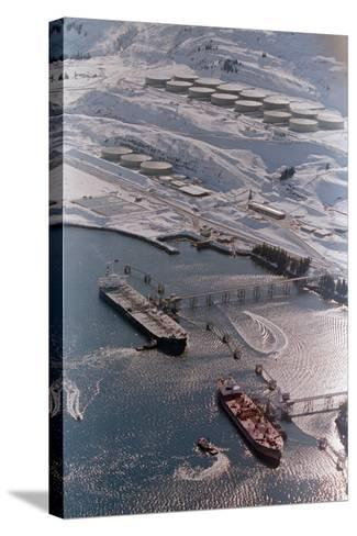 Aerial of Ships Docked in Port of Valdez--Stretched Canvas Print