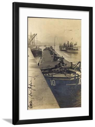 Köln, Lastkahn Im Hafen, Dampfschiff, Matrose, Kräne--Framed Art Print