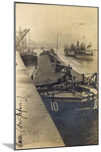 Köln, Lastkahn Im Hafen, Dampfschiff, Matrose, Kräne--Mounted Giclee Print