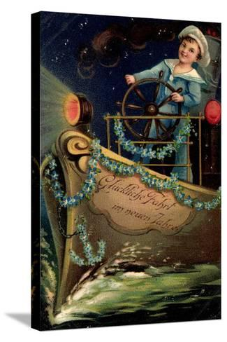 Präge Glückwunsch Neujahr, Matrose, Nacht, Schiff--Stretched Canvas Print