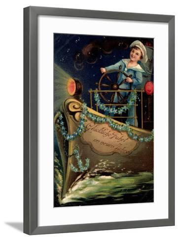 Präge Glückwunsch Neujahr, Matrose, Nacht, Schiff--Framed Art Print