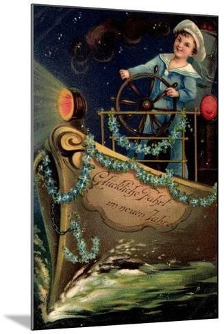 Präge Glückwunsch Neujahr, Matrose, Nacht, Schiff--Mounted Giclee Print