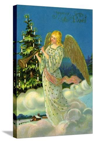 Angel with a Trumpet, French Christmas Card--Stretched Canvas Print