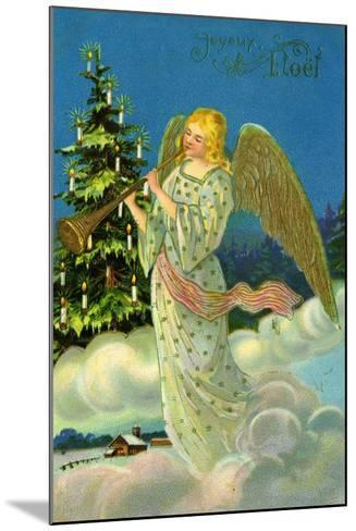 Angel with a Trumpet, French Christmas Card--Mounted Giclee Print