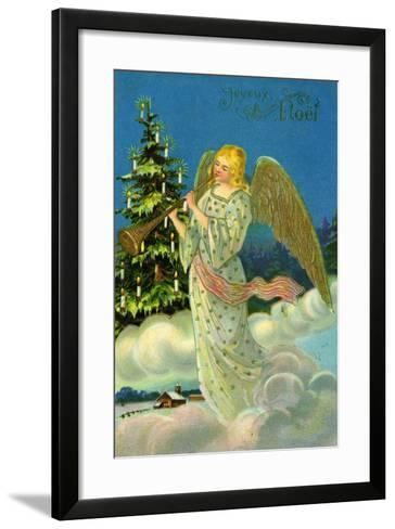 Angel with a Trumpet, French Christmas Card--Framed Art Print