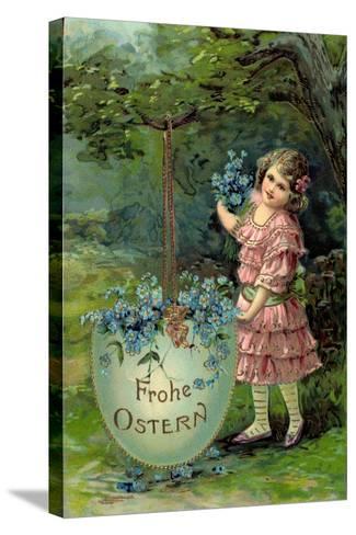 Präge Glückwunsch Ostern, Kind Mit Blumen Und Ei--Stretched Canvas Print