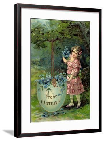 Präge Glückwunsch Ostern, Kind Mit Blumen Und Ei--Framed Art Print