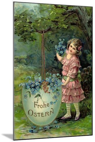 Präge Glückwunsch Ostern, Kind Mit Blumen Und Ei--Mounted Giclee Print