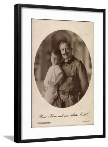 Kaiser Wilhelm II Mit Seinem Ältesten Enkel,Portrait--Framed Art Print