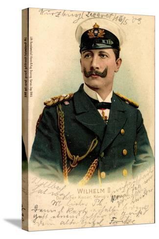 Litho Kaiser Wilhelm II V Preußen, Schirmmütze--Stretched Canvas Print