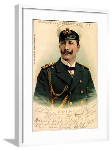 Litho Kaiser Wilhelm II V Preußen, Schirmmütze--Framed Art Print