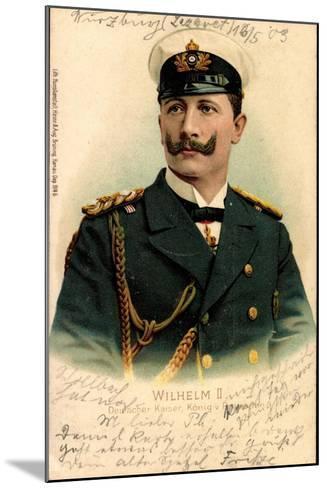 Litho Kaiser Wilhelm II V Preußen, Schirmmütze--Mounted Giclee Print