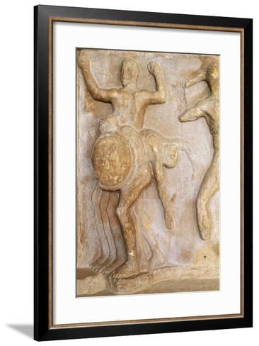 Fragment of Frieze Portraying Three-Bodied Geryon, from Theatre at Delphi, Greece--Framed Art Print
