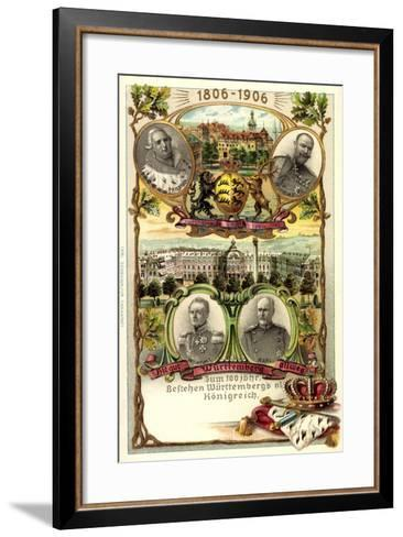 Präge Litho Stuttgart,Adel Württemberg, Schloss, Stadt--Framed Art Print