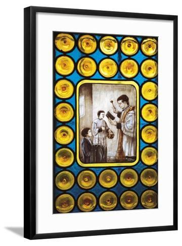 Stories from Life of Don Bosco, Stained Glass Window, Castelnuovo Don Bosco, Piedmont, Italy--Framed Art Print