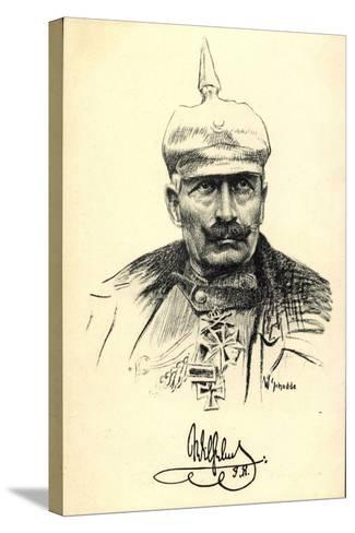 Künstler Schodde, Kaiser Wilhelm II, Spitzhaube--Stretched Canvas Print