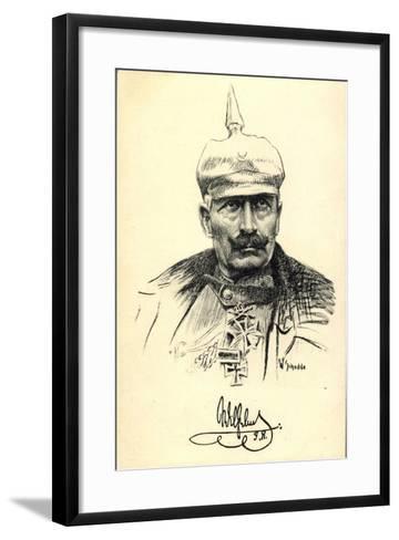 Künstler Schodde, Kaiser Wilhelm II, Spitzhaube--Framed Art Print