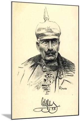 Künstler Schodde, Kaiser Wilhelm II, Spitzhaube--Mounted Giclee Print