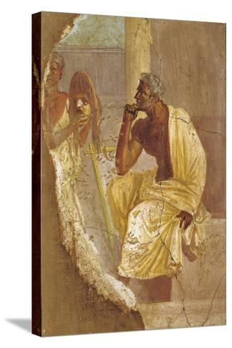 Fresco Depicting Actor and Tragic Mask, from Pompei, Italy--Stretched Canvas Print