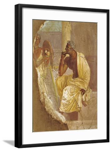 Fresco Depicting Actor and Tragic Mask, from Pompei, Italy--Framed Art Print