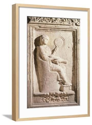 Relief Depicting Roman Lady with Mirror--Framed Art Print