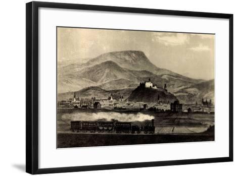 Graz Steiermark, Dampflok Fährt an Ortschaft Vorbei--Framed Art Print