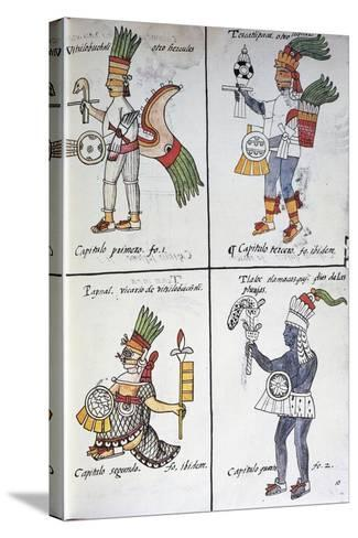 Gods of Ancient Mexicans, Huitzilopochtli, Tezcatlipoca, Tlaloc and Paynal, Text in Spanish--Stretched Canvas Print