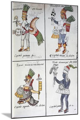 Gods of Ancient Mexicans, Huitzilopochtli, Tezcatlipoca, Tlaloc and Paynal, Text in Spanish--Mounted Giclee Print