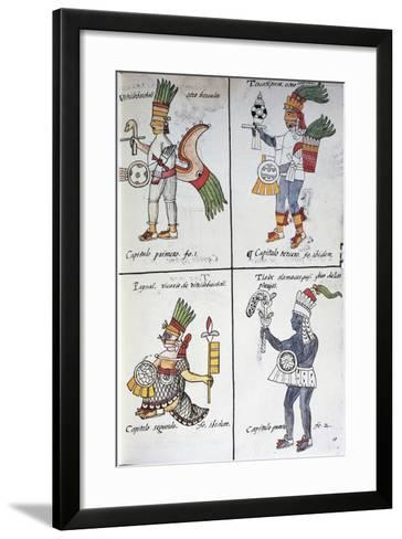 Gods of Ancient Mexicans, Huitzilopochtli, Tezcatlipoca, Tlaloc and Paynal, Text in Spanish--Framed Art Print