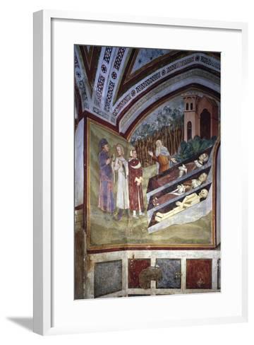 Encounter Between Three Living and Three Dead--Framed Art Print