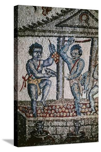 Cupids Treading Grapes, Mosaic Detail from Vault of Ambulatory--Stretched Canvas Print