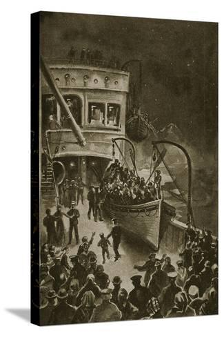 Lowering of the Life-Boats from the Titanic--Stretched Canvas Print