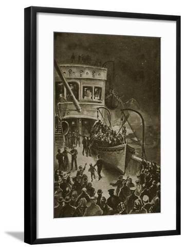 Lowering of the Life-Boats from the Titanic--Framed Art Print
