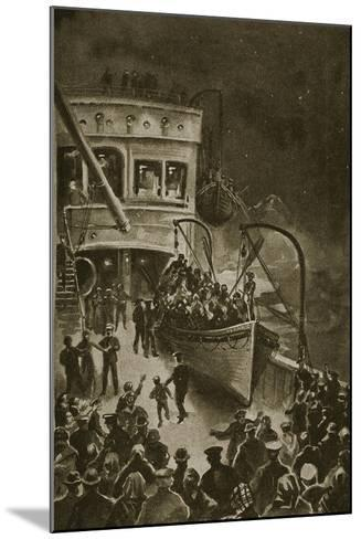 Lowering of the Life-Boats from the Titanic--Mounted Giclee Print