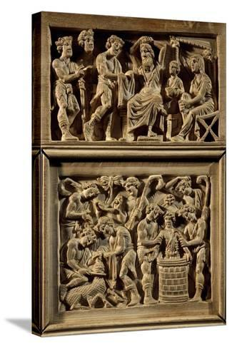 Chair of Bishop Maximian, Inlaid Wood and Ivory Paleochristian Sculpture, from Ravenna, Italy--Stretched Canvas Print
