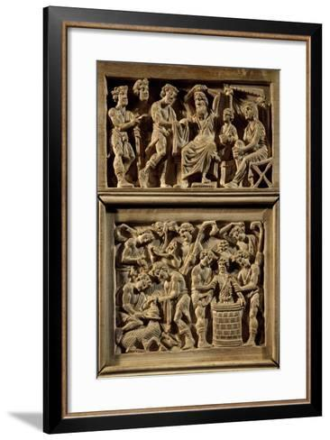 Chair of Bishop Maximian, Inlaid Wood and Ivory Paleochristian Sculpture, from Ravenna, Italy--Framed Art Print