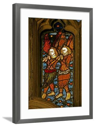 Window N1 Depicting Musician Angels with Oboes--Framed Art Print