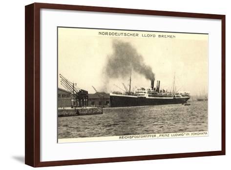 Yokohama Japan, Lloyd Bremen, Dampfer Prinz Ludwig--Framed Art Print