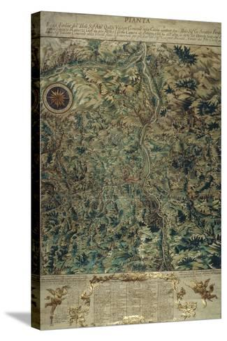 Topographic Map of Porretta County, Ranuzzi Fiefdom on Paper, 1720--Stretched Canvas Print