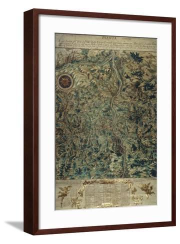 Topographic Map of Porretta County, Ranuzzi Fiefdom on Paper, 1720--Framed Art Print