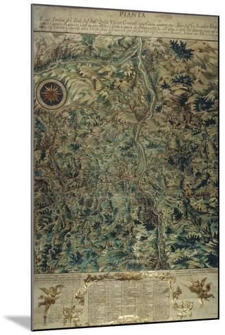 Topographic Map of Porretta County, Ranuzzi Fiefdom on Paper, 1720--Mounted Giclee Print