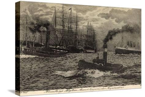 Künstler Hamburg, Dampfer Imperator, Hapag, Schlepper--Stretched Canvas Print