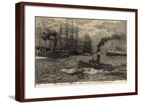 Künstler Hamburg, Dampfer Imperator, Hapag, Schlepper--Framed Art Print