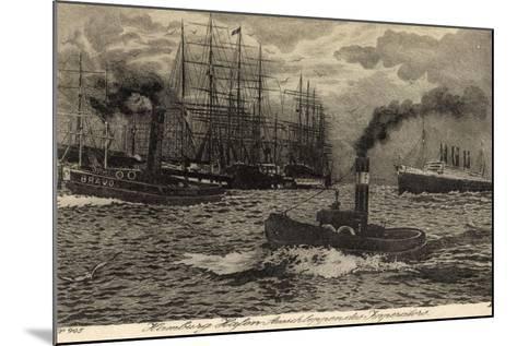 Künstler Hamburg, Dampfer Imperator, Hapag, Schlepper--Mounted Giclee Print