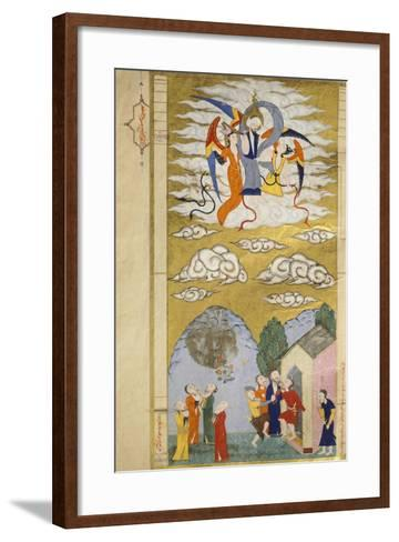The Ascension, the Prophet Muhhamed Being Carried to Heaven by the Archangel Gabriel--Framed Art Print