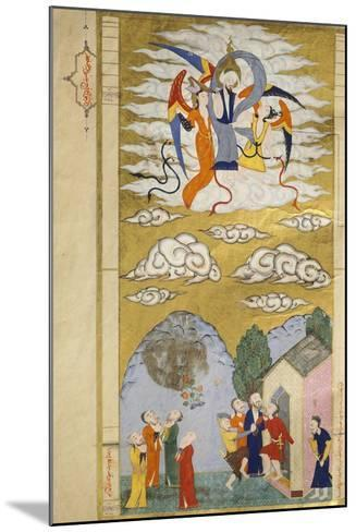 The Ascension, the Prophet Muhhamed Being Carried to Heaven by the Archangel Gabriel--Mounted Giclee Print