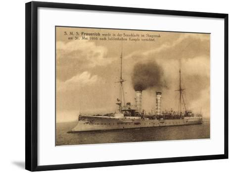 Kriegsschiffe, S.M.S. Frauenlob Auf See--Framed Art Print