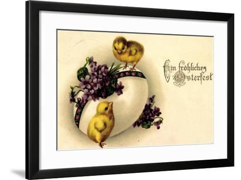 Künstler Litho Fröhliche Ostern, Küken, Osterei--Framed Art Print